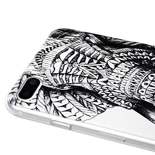 iphone 7 Plus Case,Badalink iphone 7 Plus Hülle Schutzhülle Bunt PC Cover Handyhülle Hardcase Schale Katzen küssen Fisch Muster Volle Kante Transparente Hülle Elefant