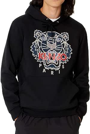 Kenzo Men's Sweatshirt Tiger Black Hooded 100% Cotton Hoodie (XL)