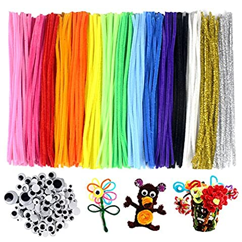 JPSOR Pipe Cleaners 300 PCS DIY Chenille Stem Set, 15 Colours, with 100 Wiggle Googly Eyes as Gift