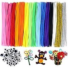 JPSOR tallos de chenilla 300 Piezas DIY Limpiadores de Pipa pipe cleaners, 15 Colors Con 100 Ojos Moviles Manualidades Para Muñecos