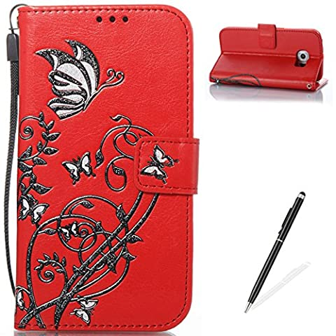 Samsung Galaxy S6 Edge Hülle,MAGQI Premium Flip PU Leder Samsung Galaxy S6 Edge Tasche,[Magnetverschluss] [Standfunktion] [Karten Slot] Schutzhülle,Rote rosa Rose Butterfly Blume Geprägt Muster mit Brieftasche Bookstyle Entwurf Protective Cover für Samsung Galaxy S6 Edge + Frei 2 in 1 Stylus - Rot