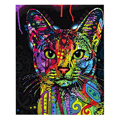 (Cuigu DIY Digitales Ölgemälde - Bunte Katze - Malen Nach Zahlen, Hauptwanddekor)