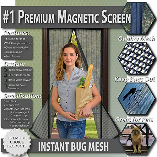 Fliegengitter mit Magnetverschluss, Insektenschutz ohne Bohren / Kleber für Terasse. Balkon, Fenster. Sofortiger Schutz gegen Moskitos, Insekten, Fliegen. Selbstklebend. (Für Türen bis 86 x 208cm)
