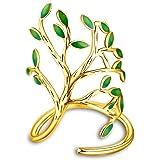 Uloveido, anello da donna con albero della vita, con foglie verdi smaltate e molla regolabile HR303