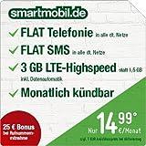 smartmobil.de LTE Starter [SIM, Micro-SIM und Nano-SIM] monatlich kündbar (3 GB LTE-Internet mit max 50 Mbit/s inkl. Datenautomatik, Telefonie-Flat, SMS-Flat, 14,99 Euro/Monat) O2-Netz