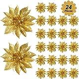 Gejoy Poinsettia Natale Fiori Artificiali Glitter Poinsettia Albero di Natale Ornamenti Decorativi Accessori Floreali per Natale Casa Frontale Porta Decorazione (Oro, 24)