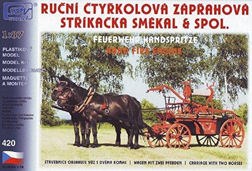 Modellbau Kunststoff Modellbausatz SDV 1:87 H0 Feuerwehr Handspritze Wagen m. zwei Pferden Fahrzeuge Ostblock
