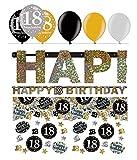 Feste Feiern Geburtstagsdeko Zum 18 Geburtstag | 8 Teile All in One Set Luftballon Girlande Konfetti Gold Schwarz Silber Party Deko Happy Birthday
