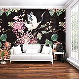 decomonkey | Fototapete Blumen Japan Asien Orient 250x175 cm XL | Design Tapete | Fototapeten | Tapeten | Wandtapete | moderne Wanddeko | Wand Dekoration Schlafzimmer Wohnzimmer | Schwarz Rose Vogel Weiß | FOB0252a5XL