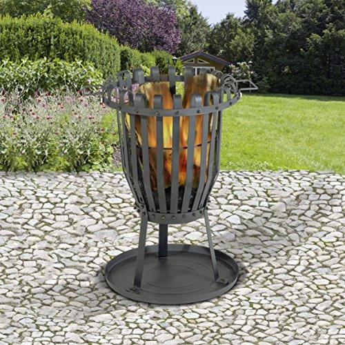 *Feuerkorb 68cm Feuerschale aus Stahl mit Funkenschutzgitter und Grillrost, pulverbeschichtet in schwarz*