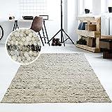 Taracarpet Moderner Handweb Teppich Alpina handgewebt aus Schurwolle für Wohnzimmer, Esszimmer, Schlafzimmer und die Küche Geeignet (070 x 130 cm, 30 Grau Meliert)
