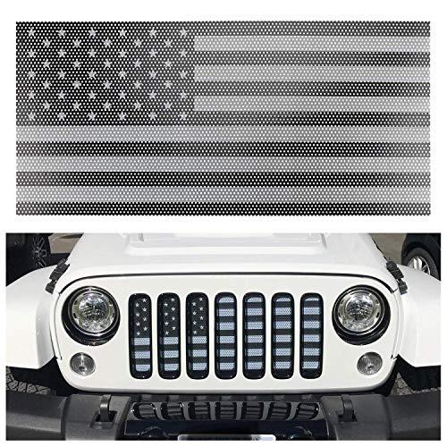 L&U Inserto griglia Anteriore Inserto griglia Bandiera Nera e Bianca US Flag per 2007-2017 Jeep JK & Wrangler Unlimited