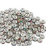 Naler 120 abalorios plateados brillantes de colores surtidos para bisutería, manualidades, 10 mm, diseño de diamantes de imitación ondulados