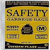 Swab Safety Garbage Bags Size Medium 19 Inch X 21 Inch (Black) Pack Of 6 ( 180 Bags)(Trash Bag/ Dustbin Bag)