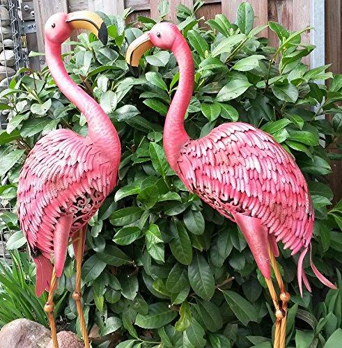 Hohe Garten (Vintage Flamingo 2er Set Gartenfigur Metall Figur Bunt Tier Vogel Deko Teichfigur Gartendeko Garten Höhe 97cm)