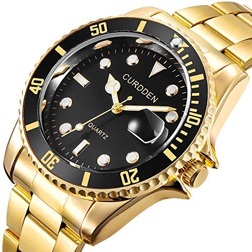 Herren Edelstahl Uhren Herrenuhren Luxus Casual Business Edelstahl Band Analog Quartz Uhr Männer Mode Elegant Design Herren Armbanduhr … (Golden)