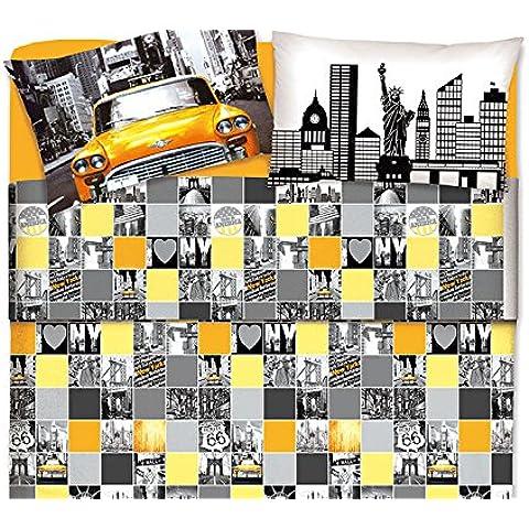 Biancheriaweb - Juego de cama de cuerpo y medio, diseño de New York y Hollywood
