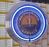 NEONUHR NEON CLOCK - MASERATI - AUTHORIZED SERVICE - GARAGE SIGN - WANDUHR BELEUCHTET MIT BLAUEN NEON RING! ERHÄLTLICH AUCH MIT ANDEREN NEON FARBEN!