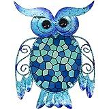 HONGLAND Decoración de pared de búho de metal, diseño de mosaico azul, decoración de cristal para colgar en el hogar, jardín,