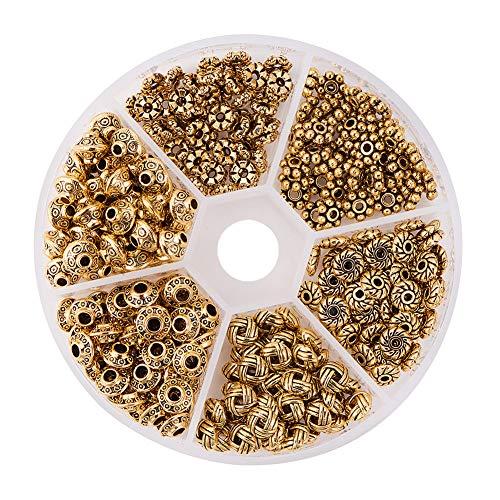 PandaHall 1Box Über 300pcs Antique Golden Tibetischen Stil Spacer Perlen Schmuckzubehör Zubehör für Armband Halskette Schmuckherstellung (5.5~6.5x2~7.5mm, Bohrung: ()