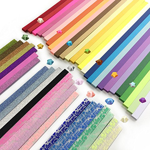 Wartoon Origami Sterne Papier doppelseitig und Leuchtend und Glitter Papier Set, 3 Styles, 49 Farben, 1900 Streifen