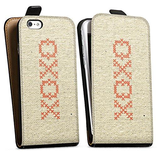 Apple iPhone X Silikon Hülle Case Schutzhülle xoxo Love Hugs Kisses Spruch Muster Downflip Tasche schwarz