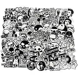 Lot de 100 Autocollants en Vinyle Style Vintage, Art Pop Noir et Blanc pour Ordinateur Portable, MacBook Skateboard/Snowboard, Valise, iPhone, Voiture, Moto