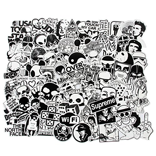 Cool Stickers Black White 100pcs Vinyl Decals Vintage Retro Pop Art Graffiti Super Stickers for Laptop Macbook Skateboard Snowboard Luggage Suitcase iPhone Car Bike Bumper Stickers