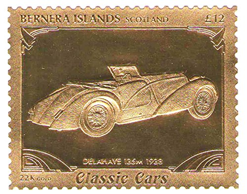 22k-carati-leaf-auto-classic-cars-francobolli-delahaye-135m-1938-bernera-islands-scotland-mnh
