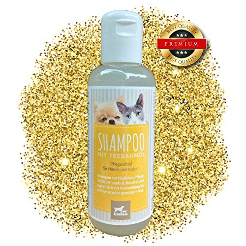 EMMA Teebaumöl Shampoo I Fellpflege für Hunde & Katzen I Hundeshampoo I gegen Juckreiz & Geruch I sensitiv - gereizte Haut I auch langes Fell 250ml -