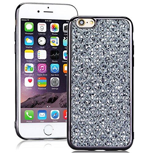 SMARTLEGEND Silicone Morbido Cover Per iPhone 6, Anti-Graffio TPU Case Cover, Ultra Glitter Protettiva Guscio Protettivo, Anti-Shock Soft Cover, Durevole Soft Case - Rose Gold Nero