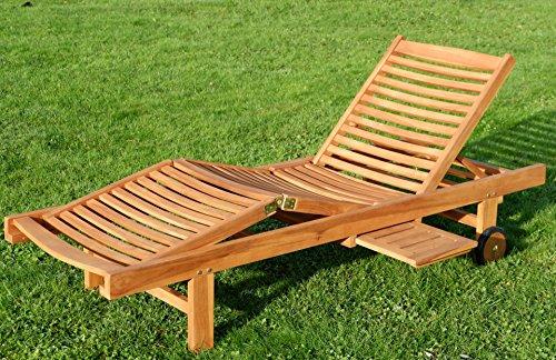 ASS Hochwertige Teak Sonnenliege Gartenliege Strandliege Liegestuhl Holzliege Holz sehr robust Modell: Cozy von