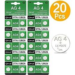DNA Lot de 20 Piles AG4 LR626 377 SR626 606 pour Montre