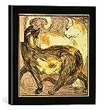 Gerahmtes Bild von Franz Marc Zwei Katzen, Kunstdruck im hochwertigen handgefertigten Bilder-Rahmen, 30x30 cm, Schwarz matt