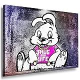 Photo leinwand24image sur toile Banksy Graffiti Art Banksy Thugs for Life Bunny/XXL Photo Mural et Wallfillers Canvas images de toile montée sur cadre en bois/couleur et taille au choix. pas poster ou Affiche/Moins cher que Peinture à/Images de toile, châssis images, Bild B - 60x40cm
