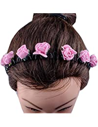 Kabello Multi Colored Flower Headband / Hair Band For Girls And Women (Pink)