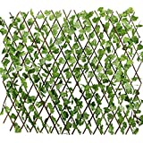 #1: Artificial Laurel Extendable Trellis Plastic Hedge Garden Fence Screening Privacy Border Wind & Sun Protection by PartyHut®