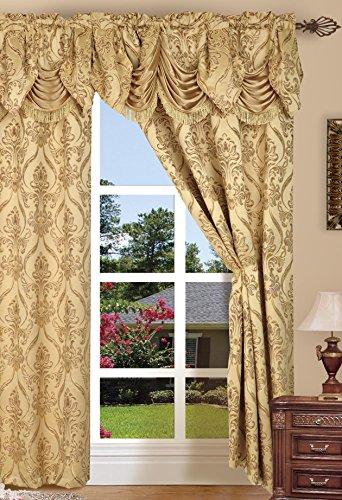 Elegant comfort set di tenda a pannello, in stile penelopie jacquard, poliestere, gold, 54x84 inches