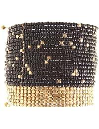 Marc Labat - 13H36 - Gypsy - Bracelet Femme - Métal - Perle - Noir - 18 cm