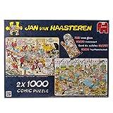 Jumbo 19003 - Jan van Haasteren - 2in1 Food Frenzy, 2 x 1000 Teile mit Gratis Topfhandschuh