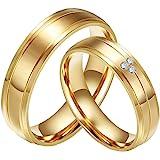 CARTER PAUL Wedding Bands CZ Diamante dell'Acciaio Inossidabile Placcato l'anello di Oro 18K della Coppia