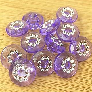5 x faux diamante acrylic buttons blue pink black orange green white purple (15mm ( size 24), purple)