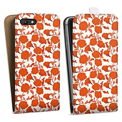 Apple iPhone X Silikon Hülle Case Schutzhülle Flower Blätter Ranken Downflip Tasche weiß