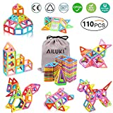 AILUKI 110 Pcs Magnetische Bauklötze Set Magnet Bausteine Konstruktion Blöcke DIY 3D Pädagogische Spielzeug Geburtstag Kindertag Geschenk für Kinder Kleinkind