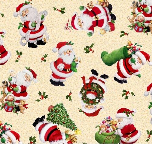 fat quarter Christmas Time Santas Cotton quilting Fabric-50cm x 55cm