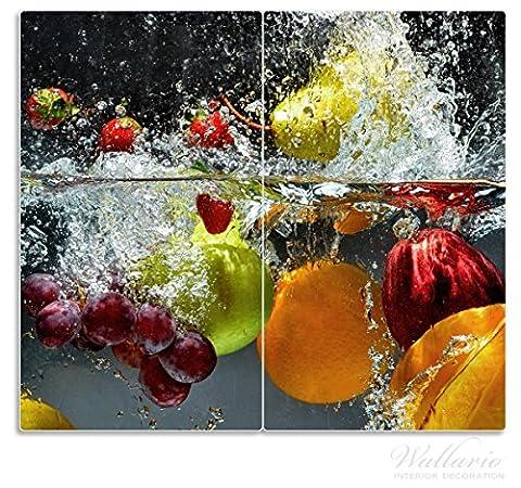Wallario Herdabdeckplatte / Spritzschutz aus Glas, 2-teilig, 60x52cm, für Ceran- und Induktionsherde, Früchte im und unter Wasser - Splashing Fruits