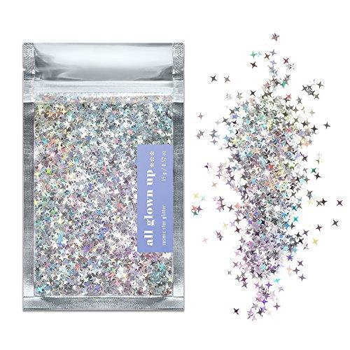 Silber Holografisch Kosmischer Stern Chunky Make-Up Glitzer (15g) - Ideal für Feste, für Gesicht, Körper, Haare und Nägel - von All Glown Up …