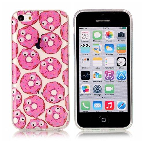 iPhone 5C Hülle, E-Lush TPU Soft Silikon Tasche Transparent Schale Clear Klar Hanytasche für iPhone 5C Durchsichtig Rückschale Ultra Slim Thin Dünne Schutzhülle Weiche Flexibel Handyhülle Kratzfeste S Rosa Donuts