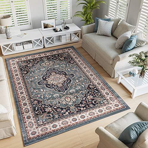 Tapiso Colorado Teppich Wohnzimmer Klassisch Kurzflor Orientalisch Blau Creme Schwarz Medaillon Ornament Muster Orientteppich ÖKOTEX 60 x 100 cm -
