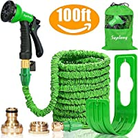 """Suplong Expandable Garden Water Hose Pipe - 100FT Magic Expanding Hose with 3/4"""" to 1/2"""" Brass Fittings Valve 8 Function Spray Gun Nozzle Wall Holder"""